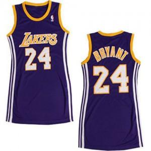 Mujer Camiseta Kobe Bryant #24 Los Angeles Lakers Adidas Dress Púrpura Authentic