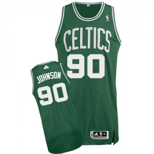 Camiseta Authentic Amir Johnson #90 Boston Celtics Road Verde (Blanco No.) - Hombre