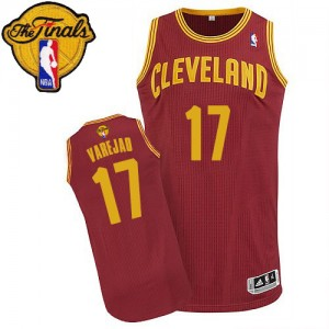 Camiseta NBA Road 2015 The Finals Patch Cleveland Cavaliers Vino Rojo Authentic - Hombre - #17 Anderson Varejao