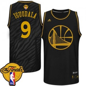 Camisetas Baloncesto Hombre NBA Golden State Warriors Precious Metals Fashion 2015 The Finals Patch Authentic Andre Iguodala #9 Negro