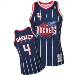 Camisetas Baloncesto Hombre NBA Houston Rockets Hardwood Classic Fashion Authentic Charles Barkley #4 Azul marino