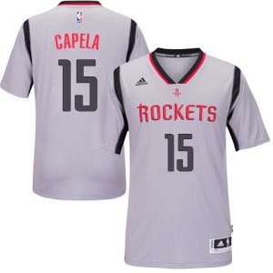 Camisetas Baloncesto Hombre NBA Houston Rockets Alternate Authentic Clint Capela #15 Gris