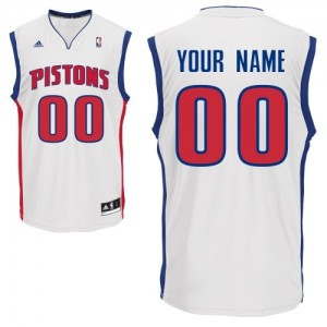 Hombre Camiseta Swingman Personalizadas Detroit Pistons Adidas Home Blanco