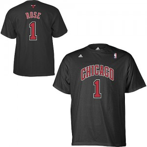 T-Shirt Hombre NBA Chicago Bulls Game Time Derrick Rose #1 Negro