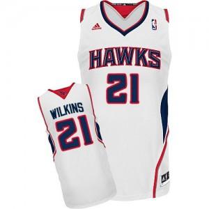 Camiseta NBA Home Atlanta Hawks Blanco Swingman - Hombre - #21 Dominique Wilkins