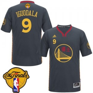 Camisetas Baloncesto Hombre NBA Golden State Warriors Slate Chinese New Year 2015 The Finals Patch Authentic Andre Iguodala #9 Negro