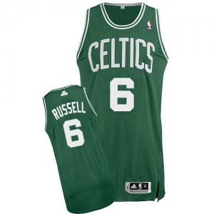 Camiseta Authentic Bill Russell #6 Boston Celtics Road Verde (Blanco No.) - Hombre