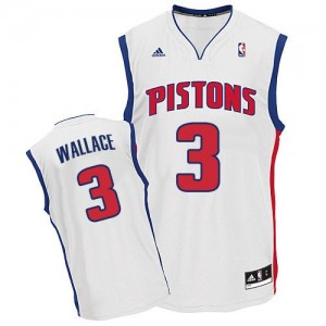 Hombre Camiseta Ben Wallace #3 Detroit Pistons Adidas Home Blanco Swingman