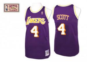 Los Angeles Lakers Mitchell and Ness Throwback Púrpura Authentic Camiseta de la NBA - Byron Scott #4 - Hombre