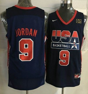 Camiseta Team USA Michael Jordan #9 Stitched Azul oscuro Retro