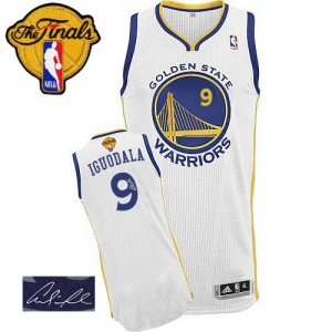 Camisetas Baloncesto Hombre NBA Golden State Warriors Home Autographed 2015 The Finals Patch Authentic Andre Iguodala #9 Blanco