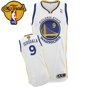 Camisetas Baloncesto Hombre NBA Golden State Warriors Home 2015 The Finals Patch Authentic Andre Iguodala #9 Blanco
