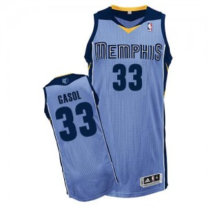Camiseta NBA Memphis Grizzlies Marc Gasol #33 Alternate Adidas Azul claro Authentic - Hombre