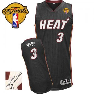 Camiseta NBA Authentic Dwyane Wade #3 Road Autographed Finals Patch Negro - Miami Heat - Hombre