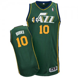 Camiseta NBA Utah Jazz Alec Burks #10 Alternate Adidas Verde Authentic - Hombre