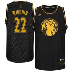 Minnesota Timberwolves Adidas Precious Metals Fashion Negro Authentic Camiseta de la NBA - Andrew Wiggins #22 - Hombre