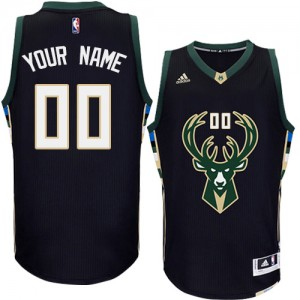 Camiseta Authentic Personalizadas Milwaukee Bucks Alternate Negro - Adolescentes