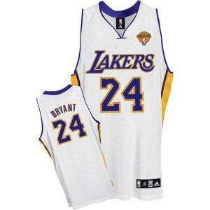 Camiseta NBA Authentic Kobe Bryant #24 Alternate Final Patch Blanco - Los Angeles Lakers - Hombre