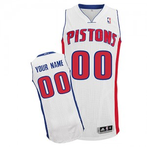 Hombre Camiseta Authentic Personalizadas Detroit Pistons Adidas Home Blanco