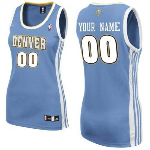 Mujer Camiseta Authentic Personalizadas Denver Nuggets Adidas Road Azul claro