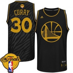 Camiseta NBA Authentic Stephen Curry #30 Precious Metals Fashion 2015 The Finals Patch Negro - Golden State Warriors - Hombre