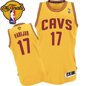 Camiseta NBA Alternate 2015 The Finals Patch Cleveland Cavaliers Oro Authentic - Hombre - #17 Anderson Varejao