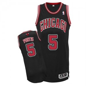 Camiseta NBA Chicago Bulls Bobby Portis #5 Alternate Adidas Negro Authentic - Hombre