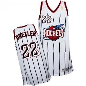 Camiseta Authentic Clyde Drexler #22 Houston Rockets Throwback Blanco - Hombre