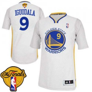 Camisetas Baloncesto Hombre NBA Golden State Warriors Alternate 2015 The Finals Patch Authentic Andre Iguodala #9 Blanco