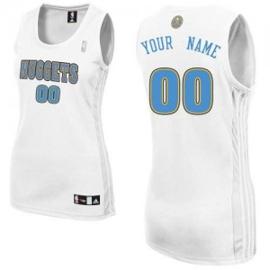 Mujer Camiseta Authentic Personalizadas Denver Nuggets Adidas Home Blanco