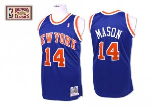Camiseta NBA New York Knicks Anthony Mason #14 Throwback Mitchell and Ness Azul real Authentic - Hombre