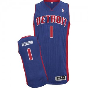 Camiseta NBA Detroit Pistons Allen Iverson #1 Road Adidas Azul real Authentic - Hombre