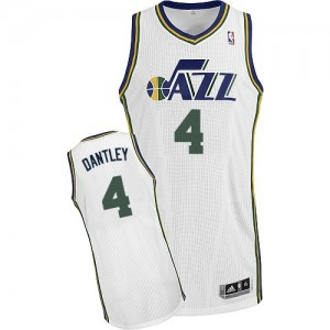 Camiseta NBA Utah Jazz Adrian Dantley #4 Home Adidas Blanco Authentic - Hombre