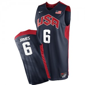 Camiseta NBA 2012 Olympics Team USA Azul marino Swingman - Hombre - #6 LeBron James