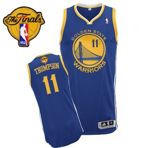Hombre Camiseta Klay Thompson #11 Golden State Warriors Adidas Road 2015 The Finals Patch Azul real Authentic