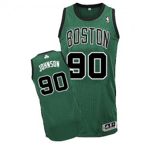 Camiseta Authentic Amir Johnson #90 Boston Celtics Alternate Verde (negro No.) - Hombre