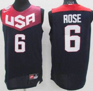 Camiseta Derrick Rose #6 Stitched Azul oscuro - 2014 Team USA