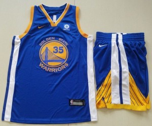 Camiseta Kevin Durant #35 Golden State Warriors A Set Azul Swingman Icon Edition