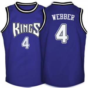 Hombre Camiseta Chris Webber #4 Sacramento Kings Adidas Throwback Púrpura Authentic