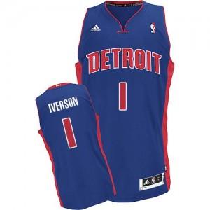 Hombre Camiseta Allen Iverson #1 Detroit Pistons Adidas Road Azul real Swingman