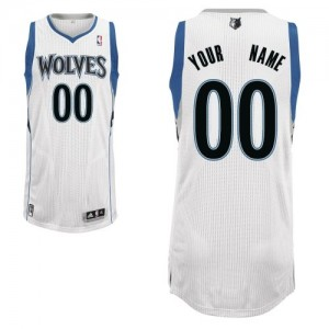 Camiseta Authentic Personalizadas Minnesota Timberwolves Home Blanco - Hombre