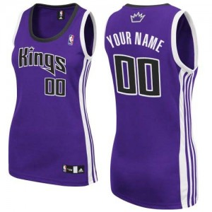 Mujer Camiseta Authentic Personalizadas Sacramento Kings Adidas Road Púrpura