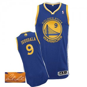Camisetas Baloncesto Hombre NBA Golden State Warriors Road Autographed Authentic Andre Iguodala #9 Azul real
