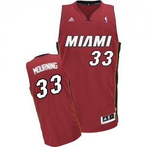 Hombre Camiseta Alonzo Mourning #33 Miami Heat Adidas Alternate Rojo Swingman