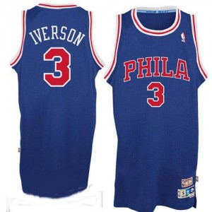 Camiseta NBA Throwack Philadelphia 76ers Azul / Rojo No. Authentic - Hombre - #3 Allen Iverson