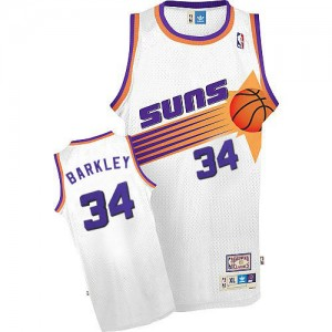 Camiseta NBA Phoenix Suns Charles Barkley #34 Throwback Mitchell and Ness Blanco Authentic - Hombre