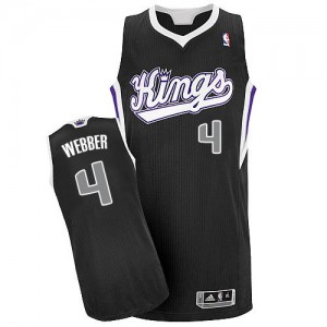 Hombre Camiseta Chris Webber #4 Sacramento Kings Adidas Alternate Negro Authentic