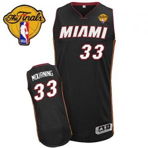 Camiseta NBA Miami Heat Alonzo Mourning #33 Road Finals Patch Adidas Negro Authentic - Hombre