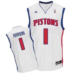 Hombre Camiseta Allen Iverson #1 Detroit Pistons Adidas Home Blanco Swingman