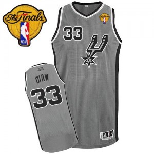 San Antonio Spurs Adidas Alternate Finals Patch Gris plateado Authentic Camiseta de la NBA - Boris Diaw #33 - Hombre